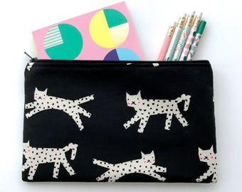 Cat Zipper Pouch, Cat Pencil Case, Kitty Pencil Pouch, Cat Cosmetic Bag, Gift bag, Leopard Cosmetic pouch, Cotton & Steel pouch