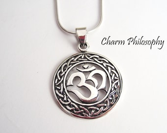 Celtic Knot Om Necklace - Om (or Aum) Pendant - 925 Sterling Silver Jewelry