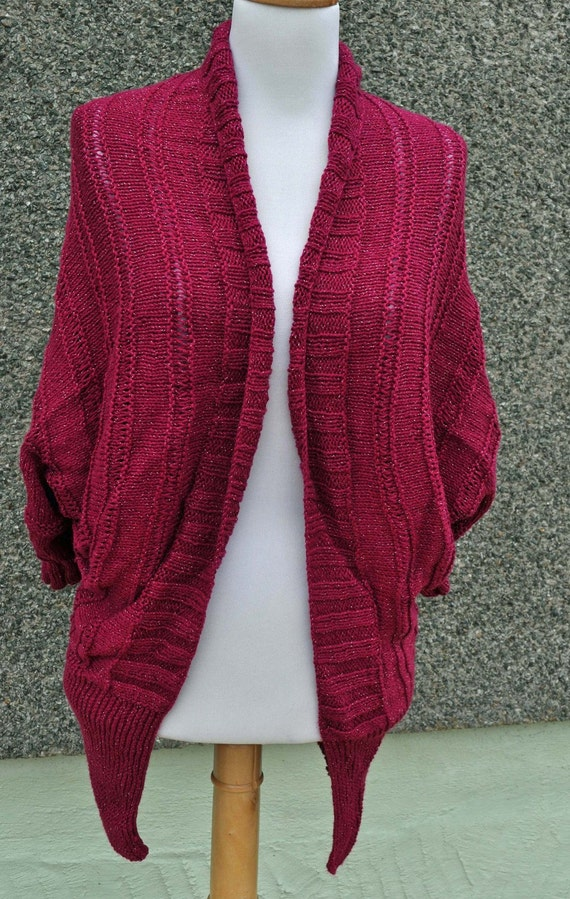 Handknitted Batwing Cardigan in Burgundy and Silver