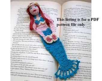 mermaid crochet bookmark/decoration pattern, mermaid pattern, fantasty crochet pattern, unique bookmark instructions, readers DIY