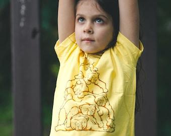 Bear pile shirt Kids shirt Toddler Animal shirt screenprinted tee yellow unisex
