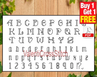 Alphabet cross stitch pattern, counted cross stitch, back stitch,PDF cross stitch, #sp 80