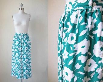 1980s teal green skirt vintage floral skirt 80s long flower print skirt xs s