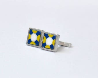 Glass Cuff links /Portuguese tile reproduction 5