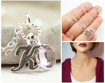 June Birthday Necklace, Personalized Birthstone Jewelry with Initial, June Birthstone Necklace, K Initial Necklace, Light Amethyst Charm