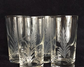 4 Etched Wheat Highball Glasses