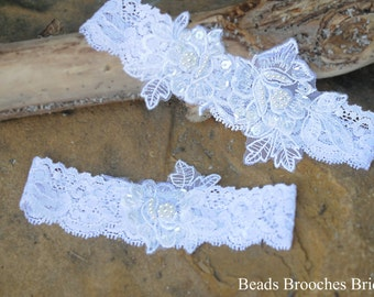White Flower Lace Wedding Garter Set,Lace Garter,White Pearl Lace Garter,Bridal Garter,Sequins Wedding Garter,Classic Pearl Brial Garter Set