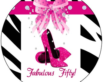 Fabulous Fifty  Round Labels, Fabulous Fifty birthday party, Hot Pink Fabulous Fifty, Hot Pink Heels Birthday Party. Set of 100.