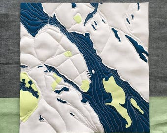"""Halifax Map/Dartmouth - Quilted 12"""" x 12"""""""