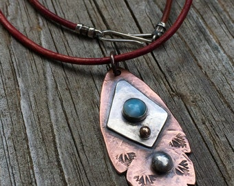 """Tribal Leaf Feather Pendant w/ Larmiar Gemstone - Rustic Mixed Metals Copper & Sterling Silver 18"""" Leather Necklace - Artisan Metalwork"""