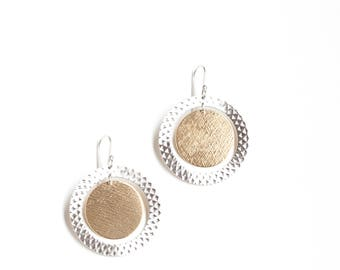 """Fashionable silver and brass earrings, dramatic & bold combination of mixed metal circles inspired by the solar eclipse - """"Soleil Earrings"""""""