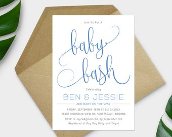 Baby Bash Invitation, Baby Shower Invitation, Couples Baby Shower, Gender Neutral Shower Invite, Modern, Choice of Color