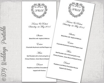 "Wedding menu template 'Vintage Heart"" Monogram black and white DIY menu digital printable Traditional menu template -Editable download"