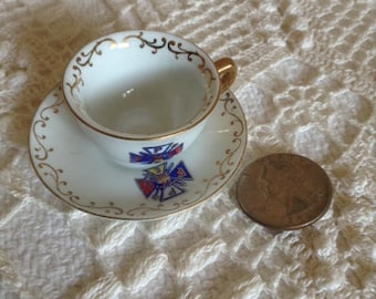 Chubu China Miniature Hand Painted Tea Cup and Saucer - Occupied Japan