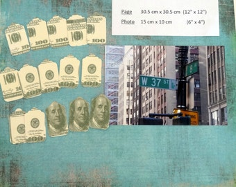 Tags decorated/Embellished tags - Kleenex / tissue paper - Bank/bank note $ 100 - set of 15/set of 15