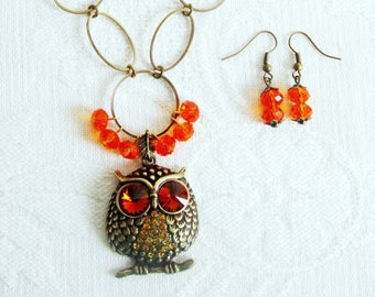 Antiqued Brass Owl Pendant on a Chain
