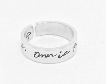 In Omnia Paratus, Gilmore Girls Inspired Aluminum Cuff Ring -  Gift Under 20