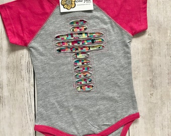 Cross Cutout - Infant - Baseball Style Bodysuit