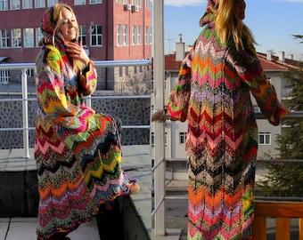 Long knit cardigan Oversized knitted cardigan Womens sweater Long womens coat Zig zag coat Long Hooded sweater long coat Hippie Coat Zig zag