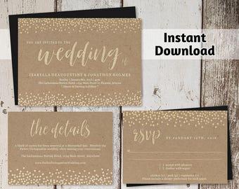 Wedding Invitation Template Printable Set - Faux Gold Foil on Kraft Paper Background - Editable Instant Download Digital File DIY PDF Suite
