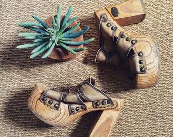 "90's Vintage ""El Dantes"" Wooden Platform Sandals, 7.5/8"