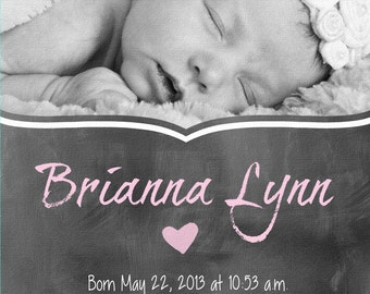 Newborn Canvas -  Custom Art,  Baby photo on Canvas,  new Baby, newborn gift, Nursery