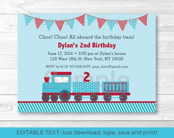 Cute Choo Choo Train Birthday Invitation / Train Birthday Invite / Blue & Red Train / Any Age / INSTANT DOWNLOAD Editable PDF Any Age A252
