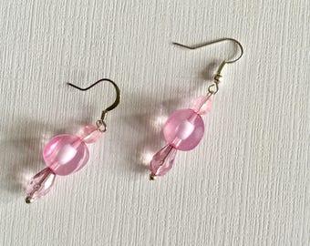 Pretty in Pink Bead Earrings  - Drop and Dangle Pink Earrings