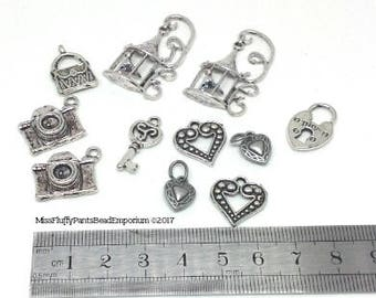 Silver Charms Mixed Lot - Hearts, Cameras, Padlock & Key, Birdcages