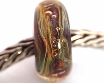 murano lampwork glass bead SRA artist handmade euro big hole bead lined Sterling Silver Made To Order - S909