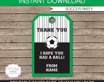 Soccer Favor Tags - Thank You Tags - Birthday Party Favors - INSTANT DOWNLOAD with EDITABLE text template - you personalize at home