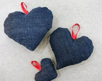 Three denim hearts, three  Jeans heart
