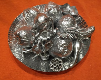 Silver painted decorative tray