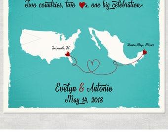 USA Mexico Map Custom Wedding Print Destination Wedding Gift  Memento Marriage Couple print alternative Signature Guest Books Signature Map