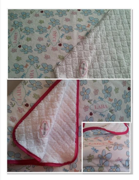 Personalized Organic Cotton Custom Blanket Flower Power Blue Critter Pals Baby Girl Blanket  /Toddler  Blankets / Birthday Gift