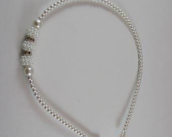 headband, tiara, wedding, white pearls.