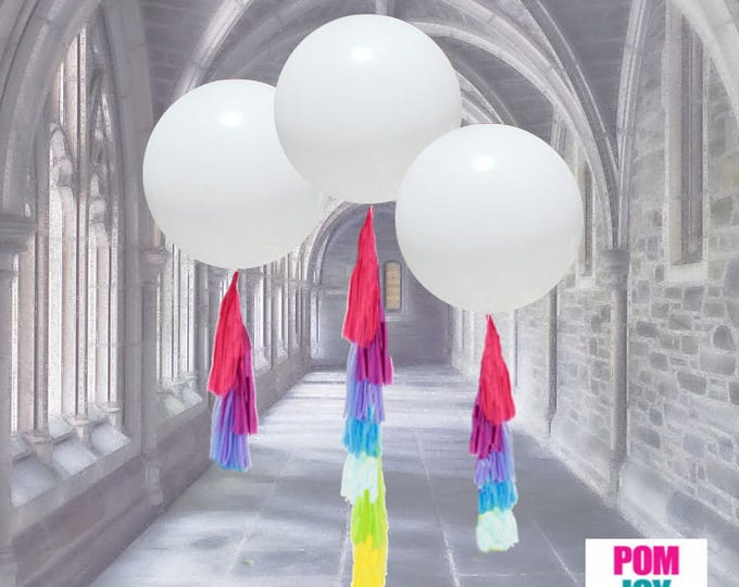 Balloon Tassels, Tassels, Balloon Tassels Garland, Balloon Tassels Blue and Pink, Tassels By Themselves - No Balloons