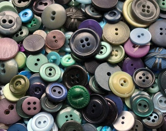 Lot of 325+ Vintage Sewing Buttons Blues Purples Greens Teal Assorted Colors Styles Plastic Celluloid 1950s 1960s