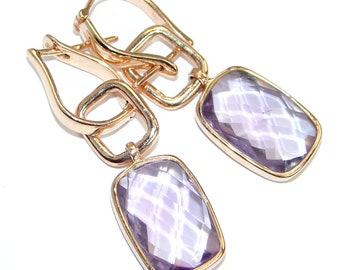 Pink Amethyst Sterling Silver Earrings - weight 7.80g - dim L - 1 5 8, W - 1 2, T - 3 16 inch - code 14-wrz-17-74