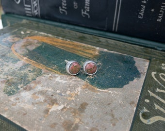 Unakite Jasper Stud Earrings - Silversmith - Metalsmith Jewelry