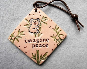 Koala Bear Inspiration Wall Art/Polymer Clay Art Tile - Imagine Peace