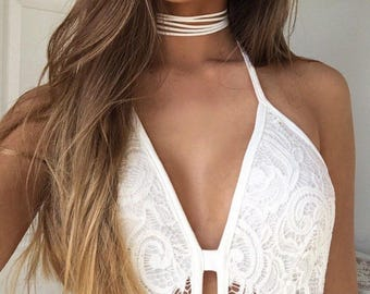 White Strappy Leather Choker