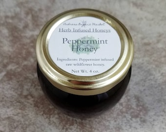 Organic Peppermint Infused Raw Honey, Tea Honey, Herb Honey, Flavored Honeys, Peppermint Herb Honey, Gift for Foodies, Sweet Gift