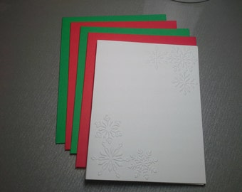 8 Embossed Christmas Cards,  White Embossed Snowflake corner Card Set, Winter Note Card, Greeting Cards.