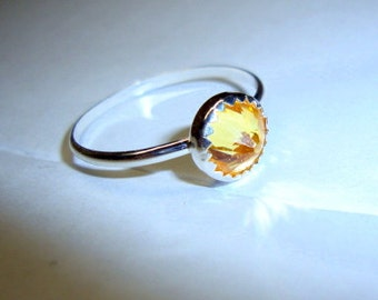 Canary Yellow Ring - .925 sterling silver - Fair Trade eco friendly cubic zirconia faux diamond - custom made in your size