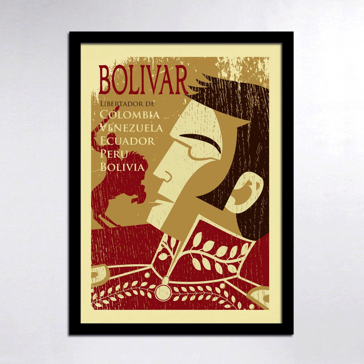 Colombian Heroes: Simon Bolivar Poster Print Colombia Wall