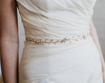 Rose Gold Crystal Bridal Sash | Rhinestone Wedding Vine Sash | Crystal Bridal Vine Sash | Boho Wedding Dress Sash Belt | Lourdes Bridal Sash