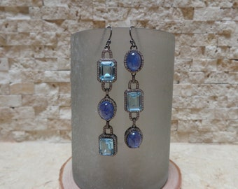 Mismatched Tanzanite and Aquamarine earrings in Oxidized Sterling Silver with pave cz
