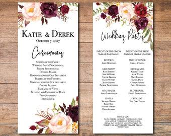 fall wedding programs templates