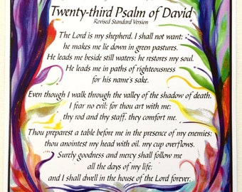 23rd PSALM 11x14 SCRIPTURE Poster Inspirational Church Room Decor Catholic Spiritual Meditation Religious Heartful Art by Raphaella Vaisseau